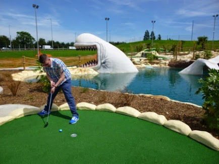 Playing Moby Adventure Golf at Golf Kingdon, Romford in June 2014