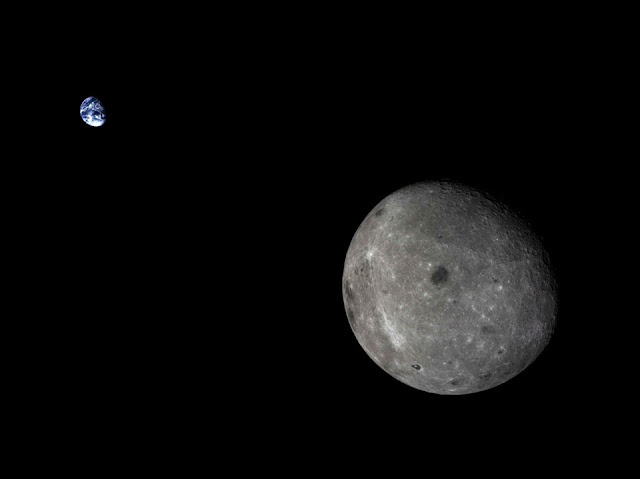 Moon and Earth from Chang'e 5-T1 spacecraft
