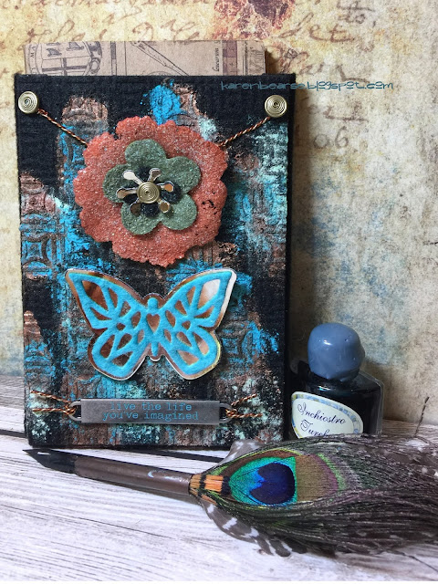 Notebook Pocket die covered in felt & patina acrylic paint.