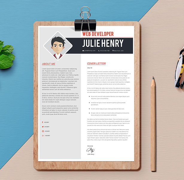Template Resume CV 2018 - Free Professional Resume CV Template in Photoshop & Word for web developer