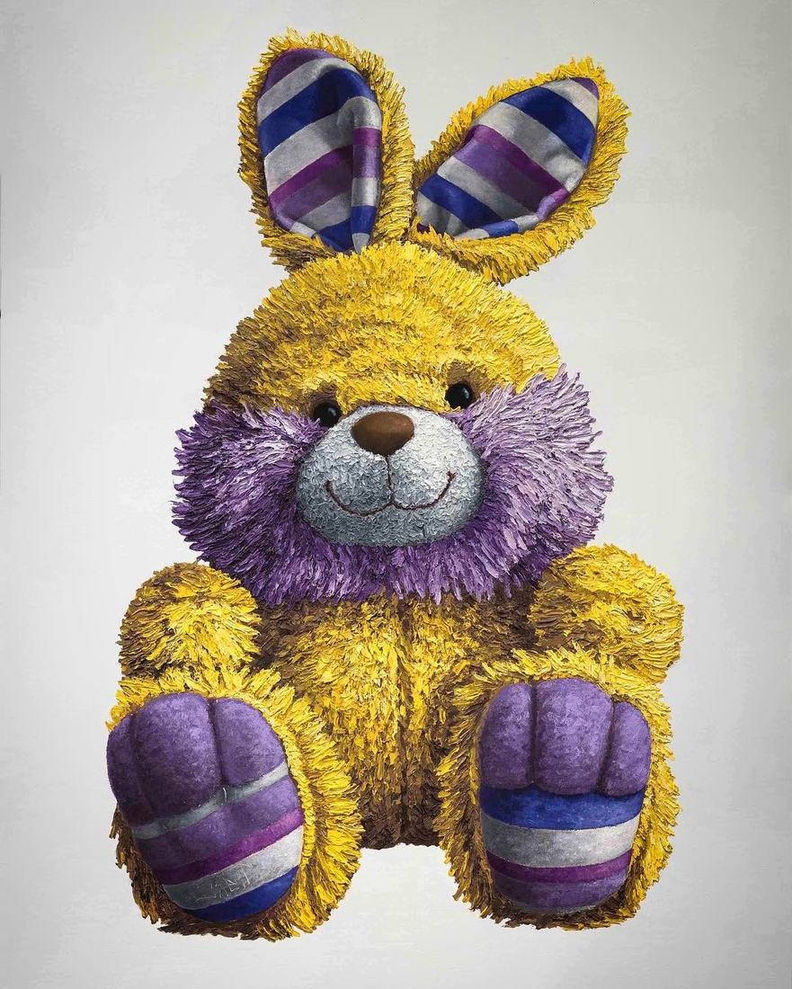 01-Yellow-and-Purple-Bunny-Brent-Estabrook-Realistic-Paintings-of-Stuffed-Animals-www-designstack-co