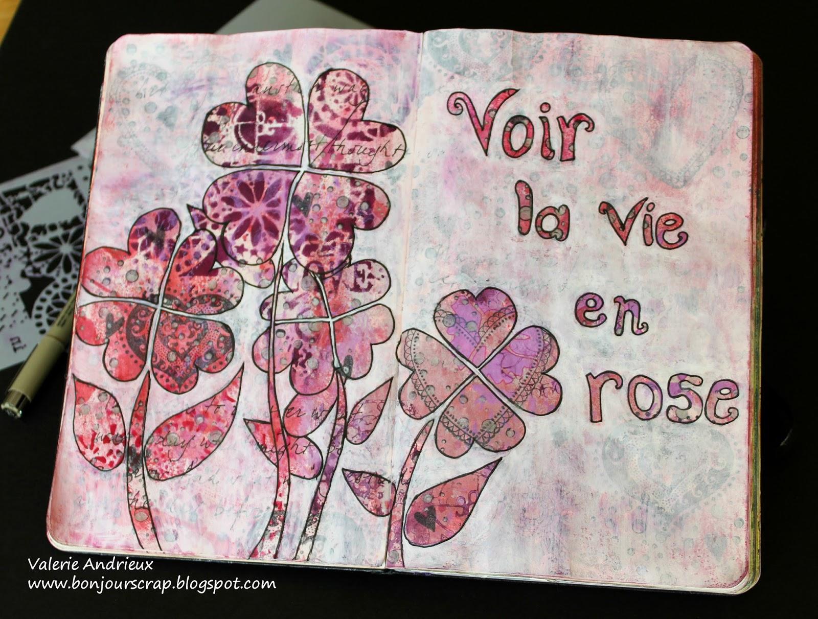 bonjour scrap voir la vie en rose an art journal page spread. Black Bedroom Furniture Sets. Home Design Ideas