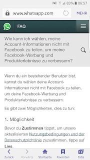 Screenshot WhatsApp FAQ neue Nutzungsbedingungen und Datenschutzrichtlinie