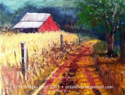 Texas Sauce Art Life Red Barn On Country Road Colorful