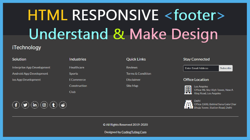 Website Responsive Footer Design using HTML5 CSS and jQuery