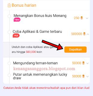 Mendapatkan Koin Cashzine dari Misi Mencoba Aplikasi & Game