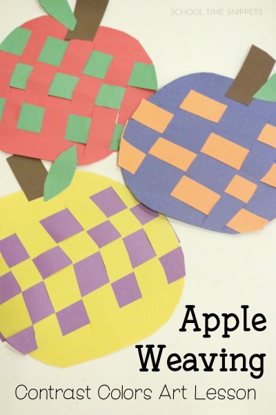 paper apple weaving craft for preschoolers