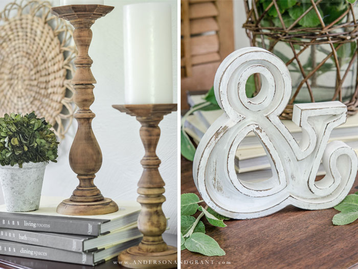 DIY Candlesticks and ampersand letter