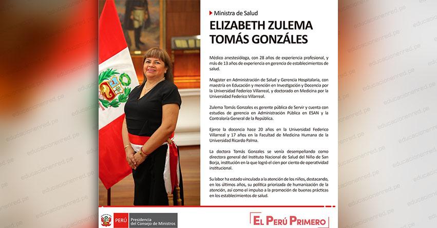 ELIZABETH ZULEMA TOMÁS GONZÁLES: Hoja de vida de la nueva Ministra de Salud - MINSA - www.minsa.gob.pe