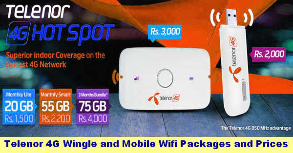 Telenor 4G Wingle and Mobile Wifi Packages and Prices