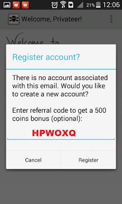 "Masukan kode ""HPWOXQ"" untuk mendapatkan bonus 0,5 dollar"
