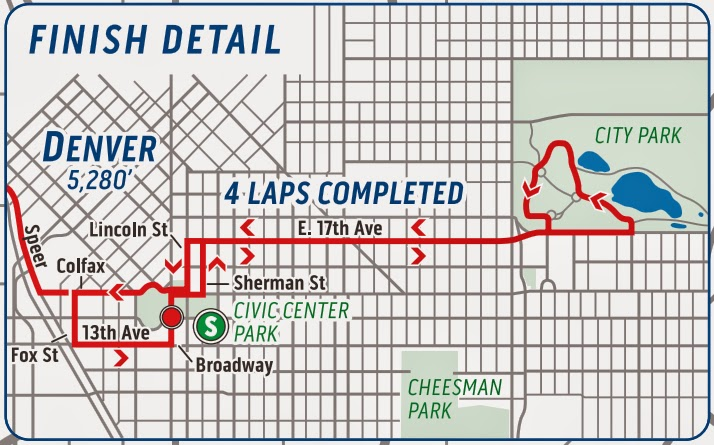Map of final circuit in downtown Denver on Stage 7 USA Pro Challenge 2015