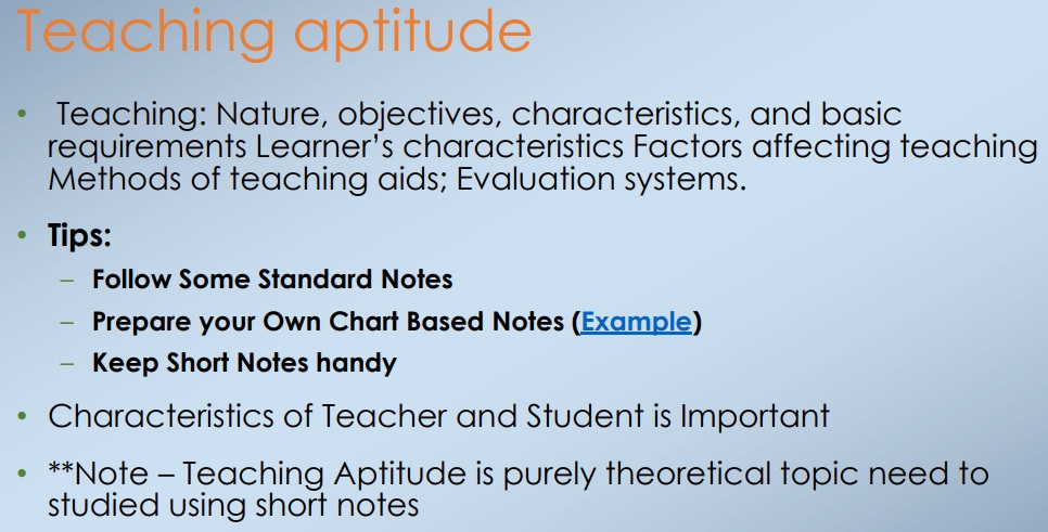CBSE UGC NET Teaching Aptitude Chart Based Notes PDF