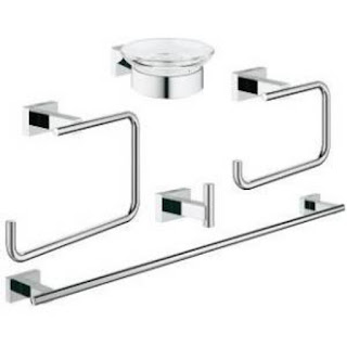 Grohe 40758001 Essentials Cube Master Bathroom Accessories Set (Five-in-One)