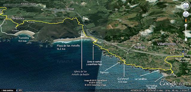 Mapa 3 Senda Costera Llanes a Villahormes