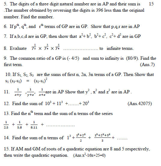 Sequences and series concept and HOT questions ,formula sheet for A.P,G.P