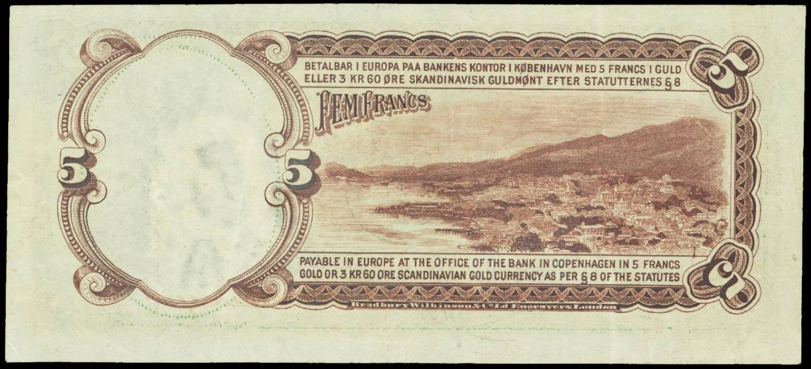 Danish West Indies currency 5 Francs Gold note 1905