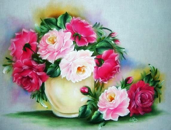 pintura em tecido flores rosas