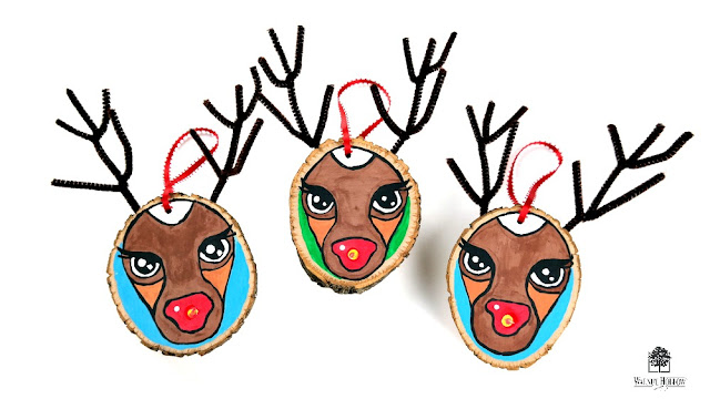 Wood Slice Rudolph Ornament Tutorial by Dana Tatar for Walnut Hollow