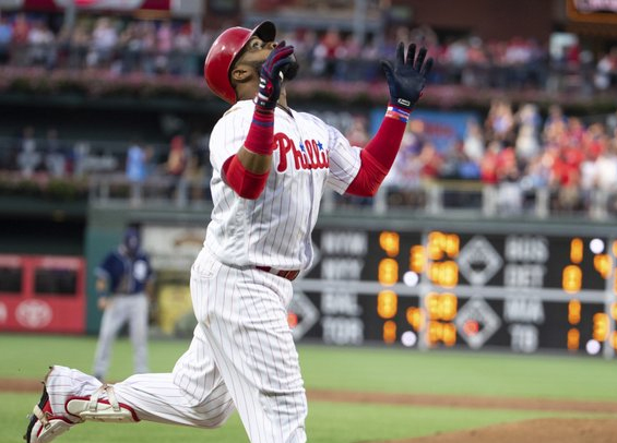 Carlos Santana slams a three-run homer for the Phillies