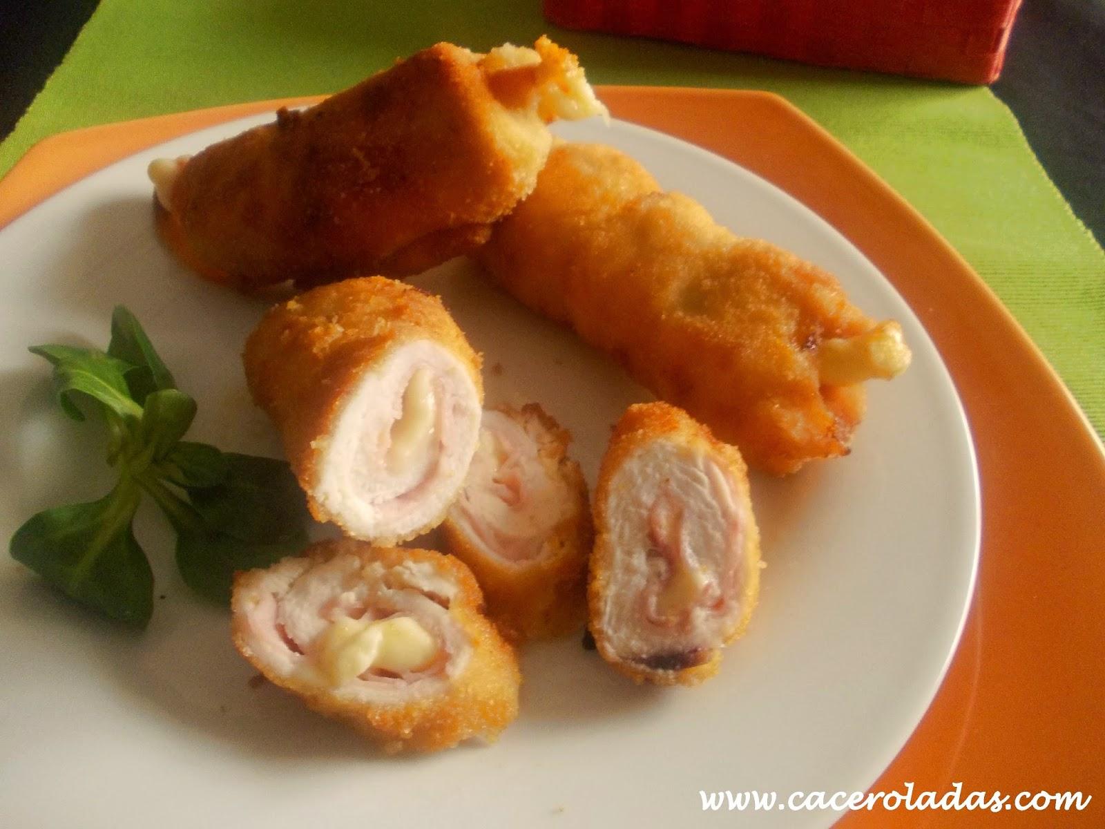 Flamenquines de pollo con jamón y queso