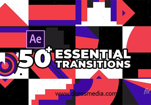 قوالب افترافكت مجانية قالب انتقالات جديدة مميزة للافترافكت . للموشن جرافيك , للمونتاج Essential Transitions