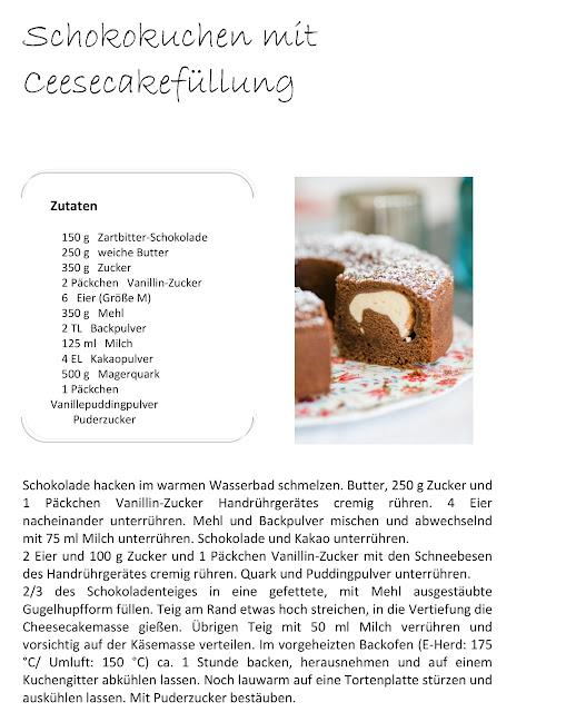 Schokoladenkuchen mit Cheesecakefüllung, Pomponetti