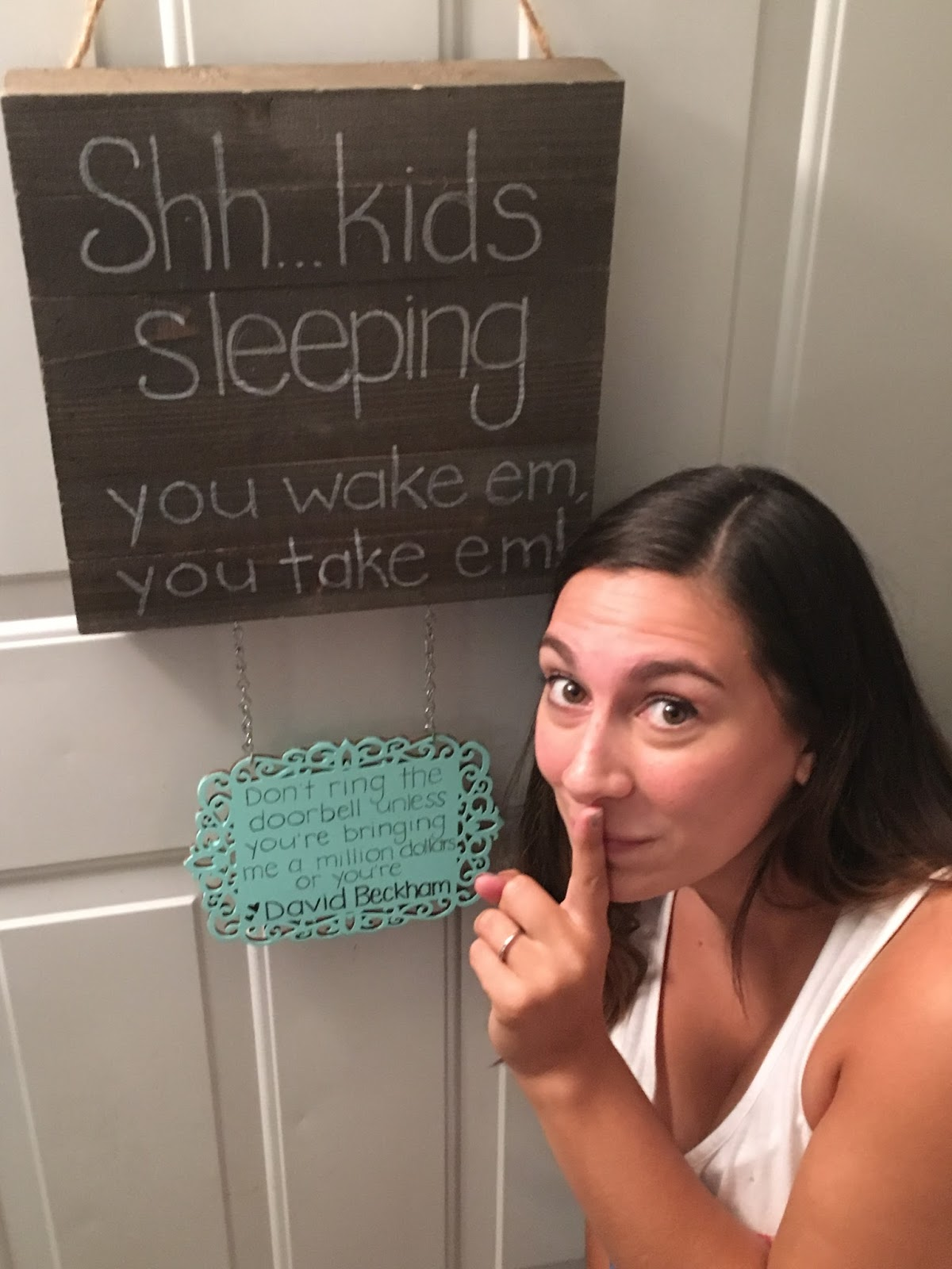 funny kid's sleeping door sign