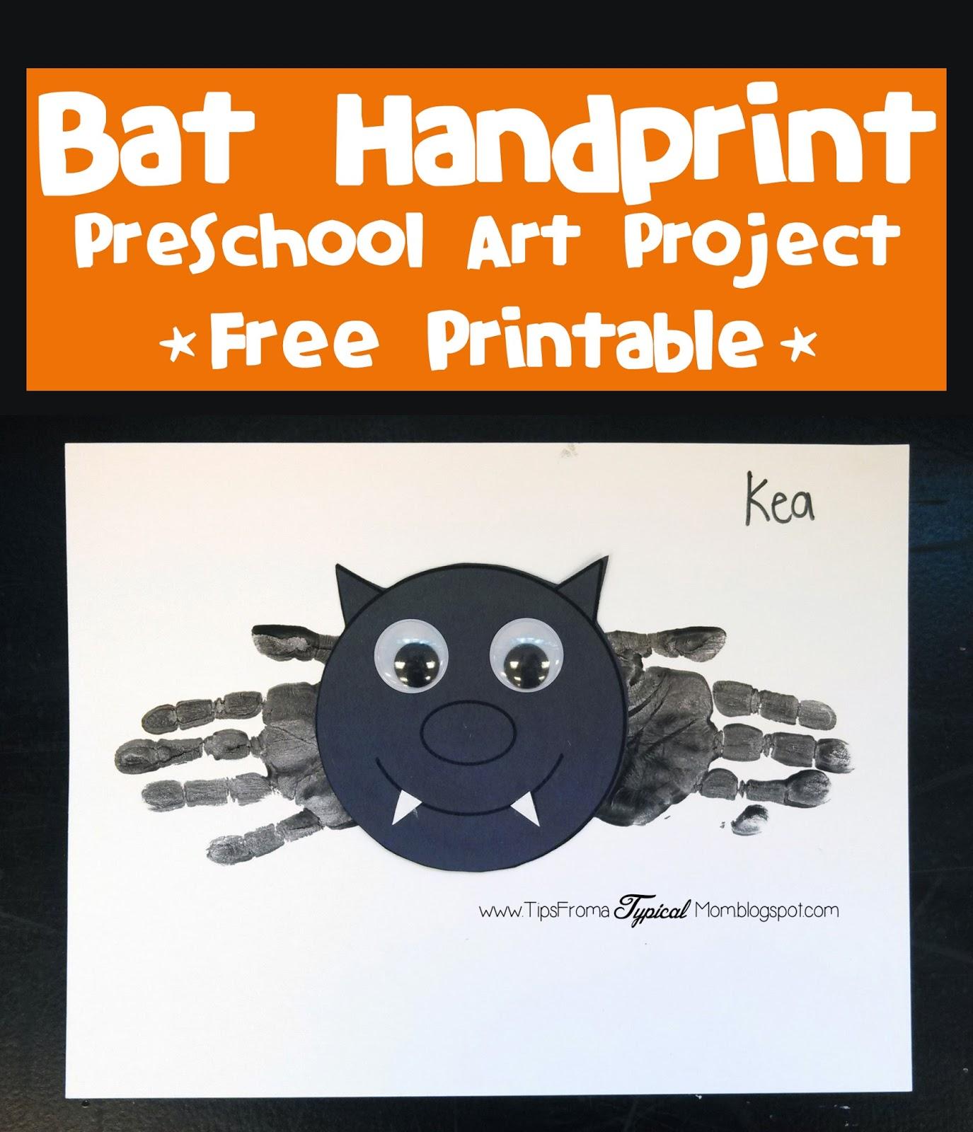 Bat Hand Prints Halloween Preschool Activity Amp Free
