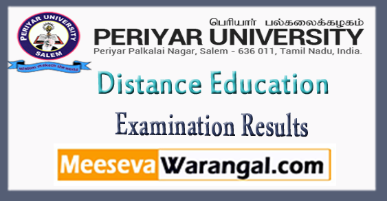 Periyar University UG PG Distance Education Examination Results 2018