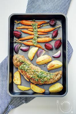 Svinjski file sa korenastim povrćem i pesto sosom