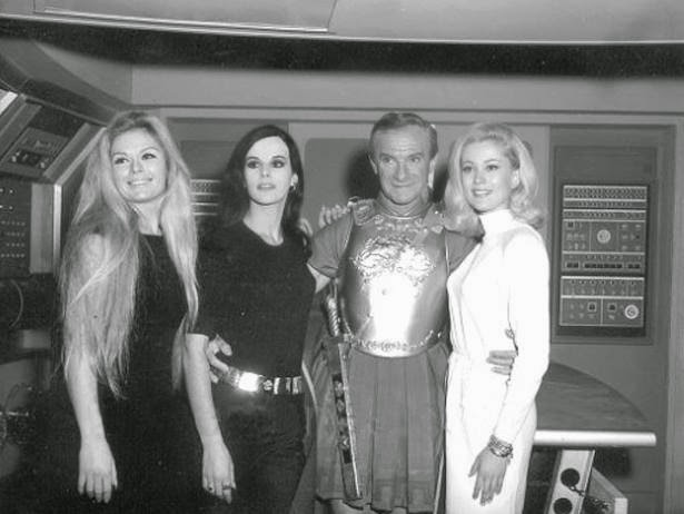 Jonathan Harris and fans on set of Lost in Space randommusings.filminspector.com