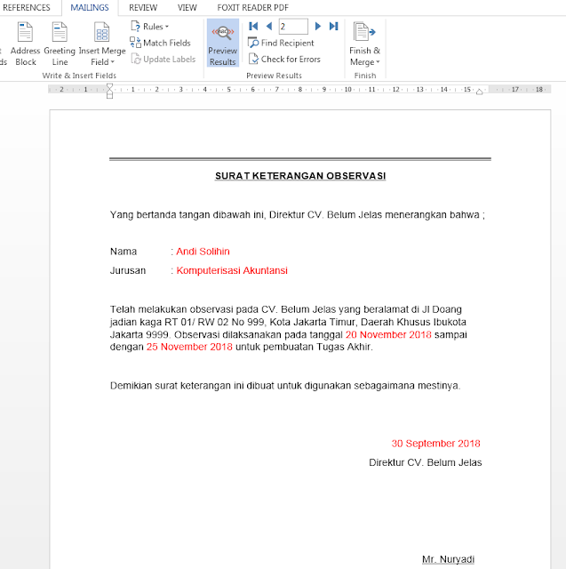 Hasil Membuat Mail Merge di Microsoft Word