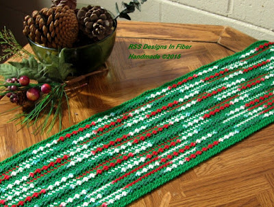 Bright Red and Green and White Table Runner - Handmade By Ruth Sandra Sperling at RSS Designs In Fiber