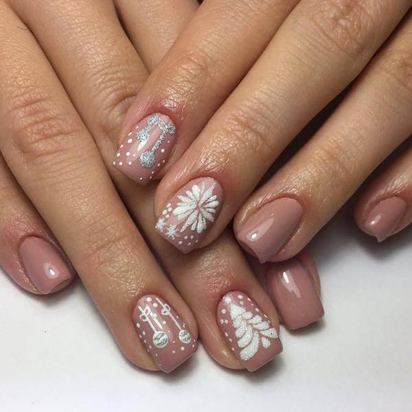 floral ,reindeer nail design