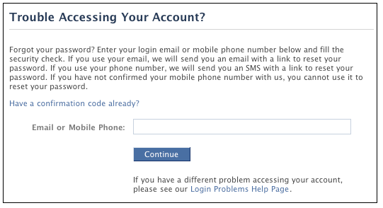 How can i reset my facebook password with a different email