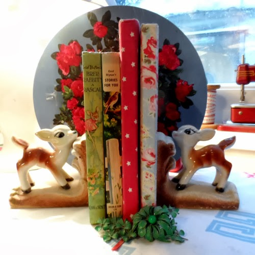 vintage ceramic deer bookends