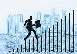 emprendedor escalando peldaños