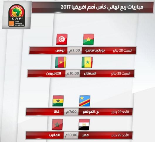 مواعيد مباريات ربع نهائي كأس أمم أفريقيا 2017 والقنوات الناقلة