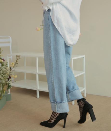 Faded Wide-Leg Jeans