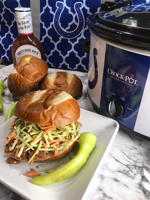Chasing Saturdays Making pulled pork in the crock pot is a simple meal.   Crock Pot Pulled Pork BBQ is a crowd favorite recipe to plan in advance for harvest, or bring to the game!