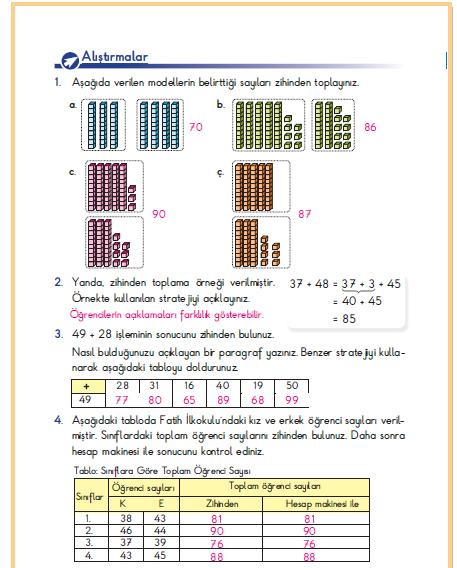 3. Sınıf Berkay Yayınları Matematik Ders Kitabı 114. Sayfa Cevapları Zihinden Toplayalım