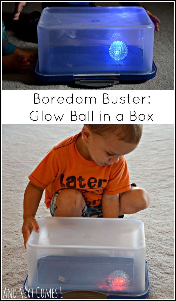 Gross motor boredom buster idea for toddlers that teaches kids about cause and effect from And Next Comes L