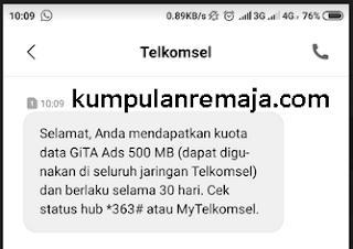 Kouta gratis telkomsel 500 mb 2019 dari ads gita