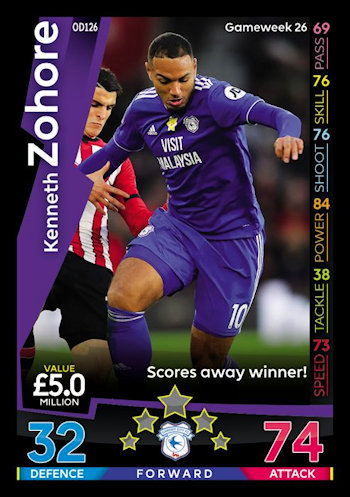 Match Attax-On Demand 2018//19-126 Kenneth zohore-Cardiff