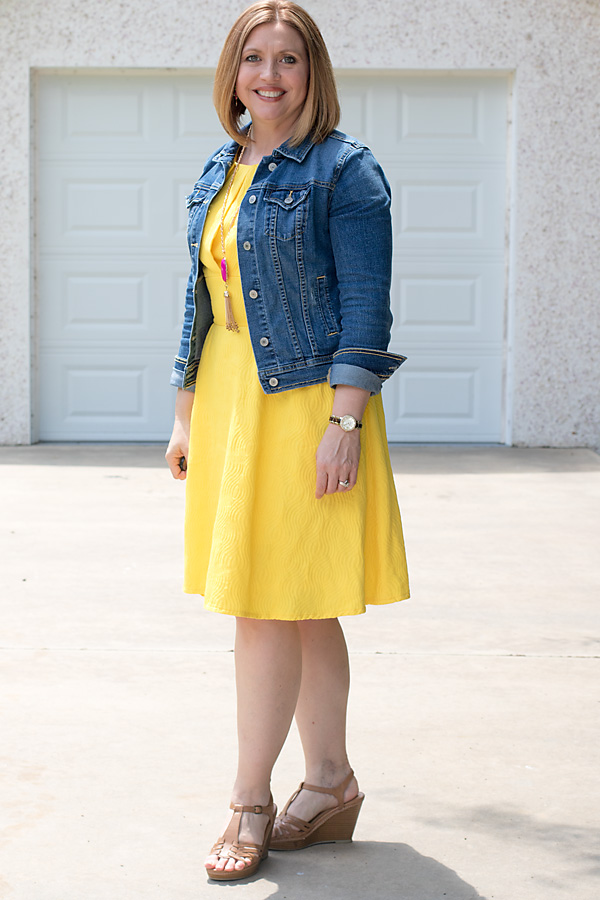 denim jacket over dress
