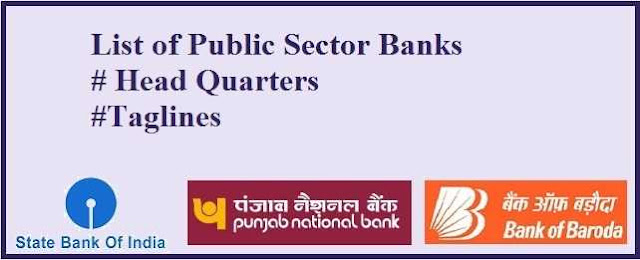 Public Sector Banks, Headquarter and Taglines