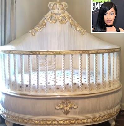 Cardi B Flaunts Daughter's outlandish Gold Crib