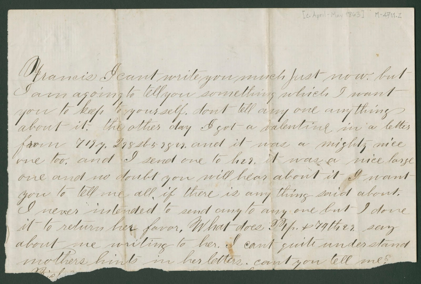 Clements library chronicles civil war era valentines day print letter transcription francis i cant write you much just now but i am agoing to tell you something which i want you to keep to yourself aljukfo Image collections