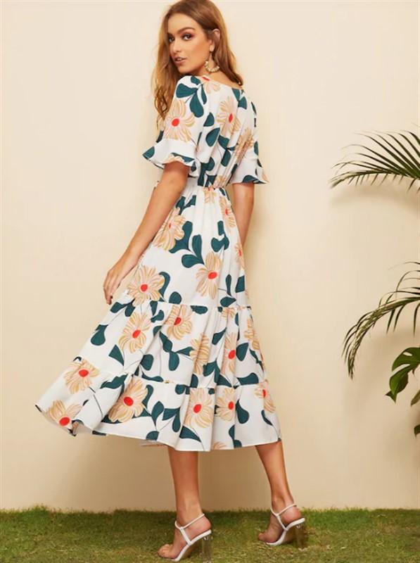 36165de0cf Surplice Floral Print Ruffle Hem Dress - nana shopping